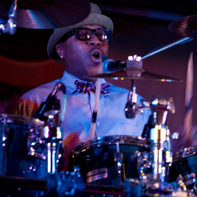 Drummer keeps the beat during live performance