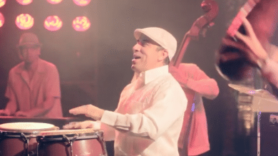 Percussionist performs with Beantown Social Club