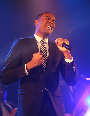 Jason croons with band at wedding band showcase in Boston