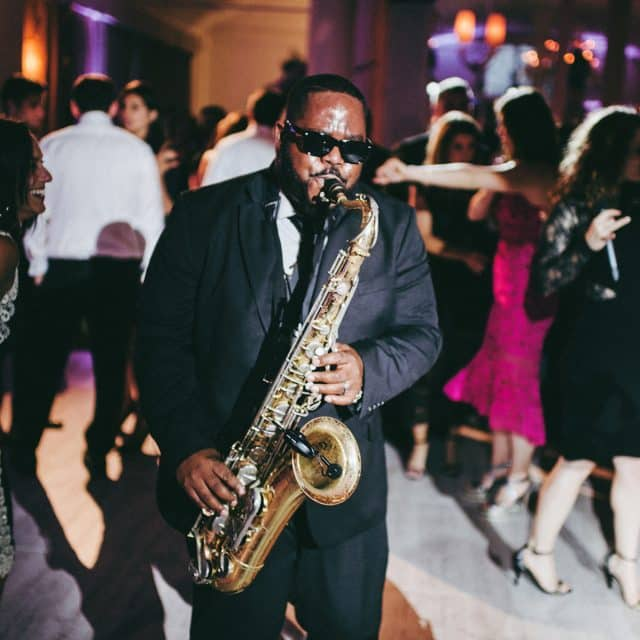 Saxophone solo with Night Shift Ent. band at corporate event