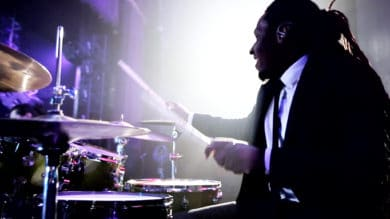 Powerhouse drummer Aaron Venable performs with Soho