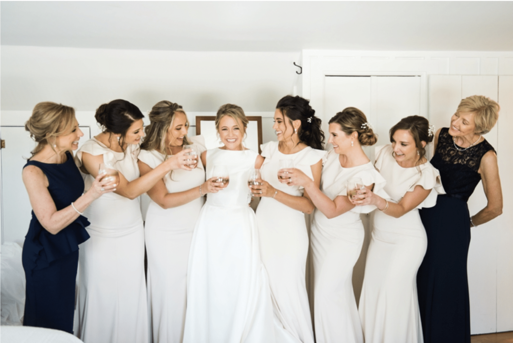 Bridal party celebrates pre-reception